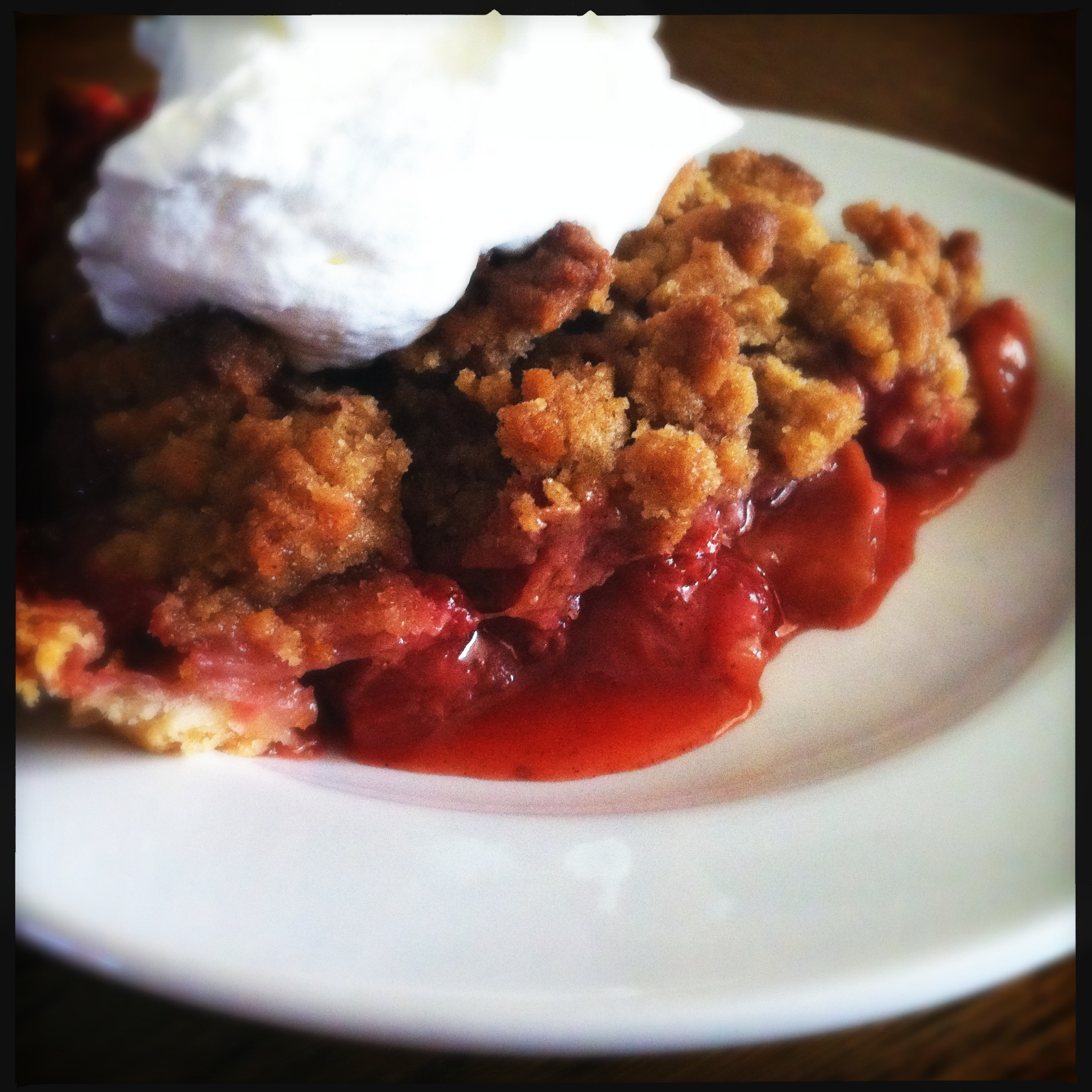 Strawberry Rhubarb Crumb with Bourbon Whipped Cream