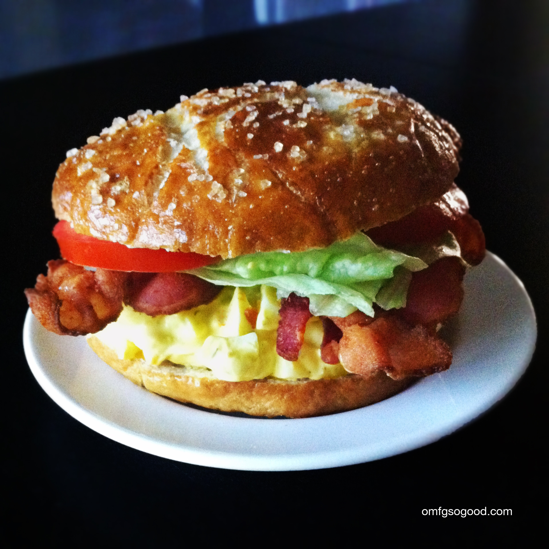 Egg Salad BLTs On Pretzel Buns