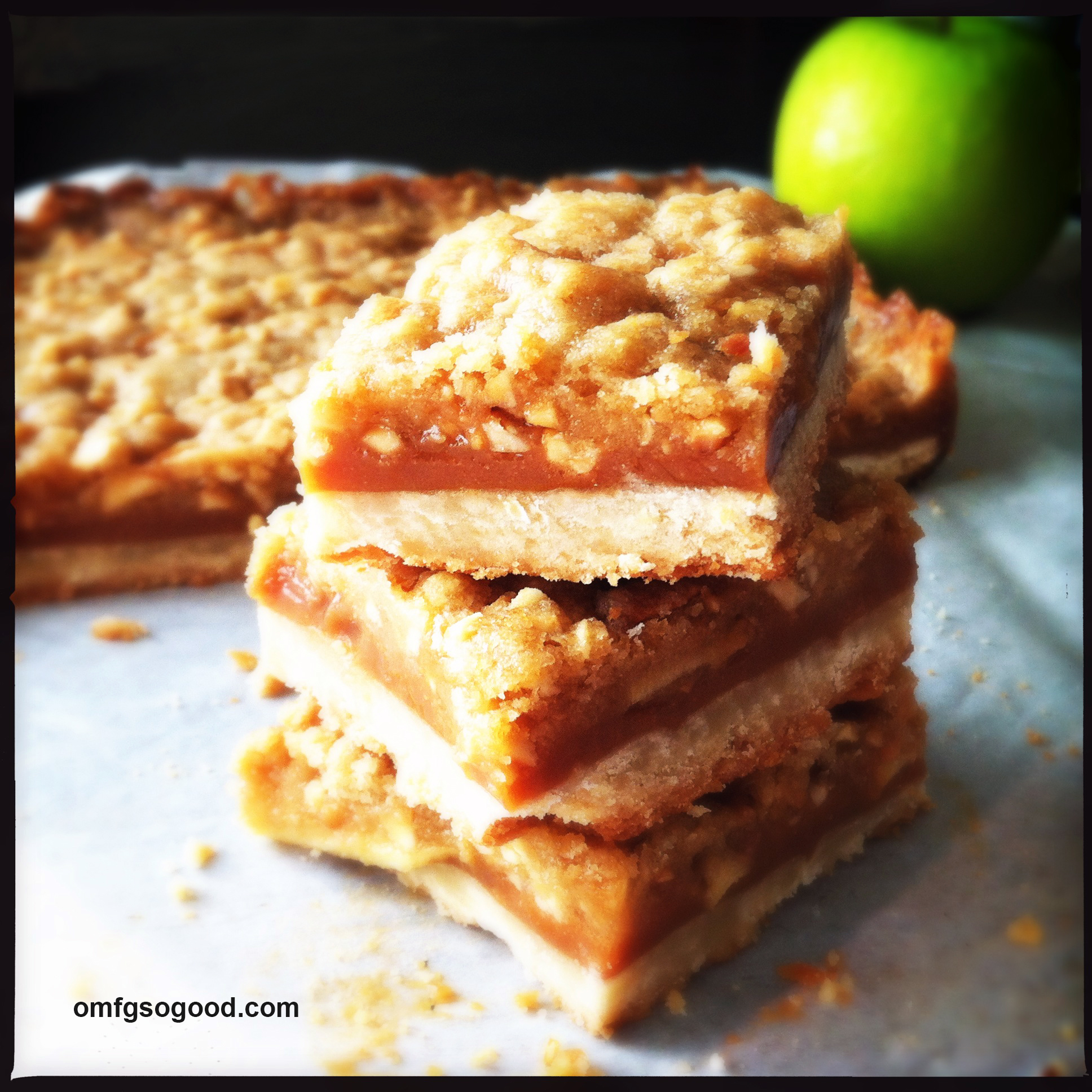 Salted Caramel Apple Crumb Bars omfgsogood