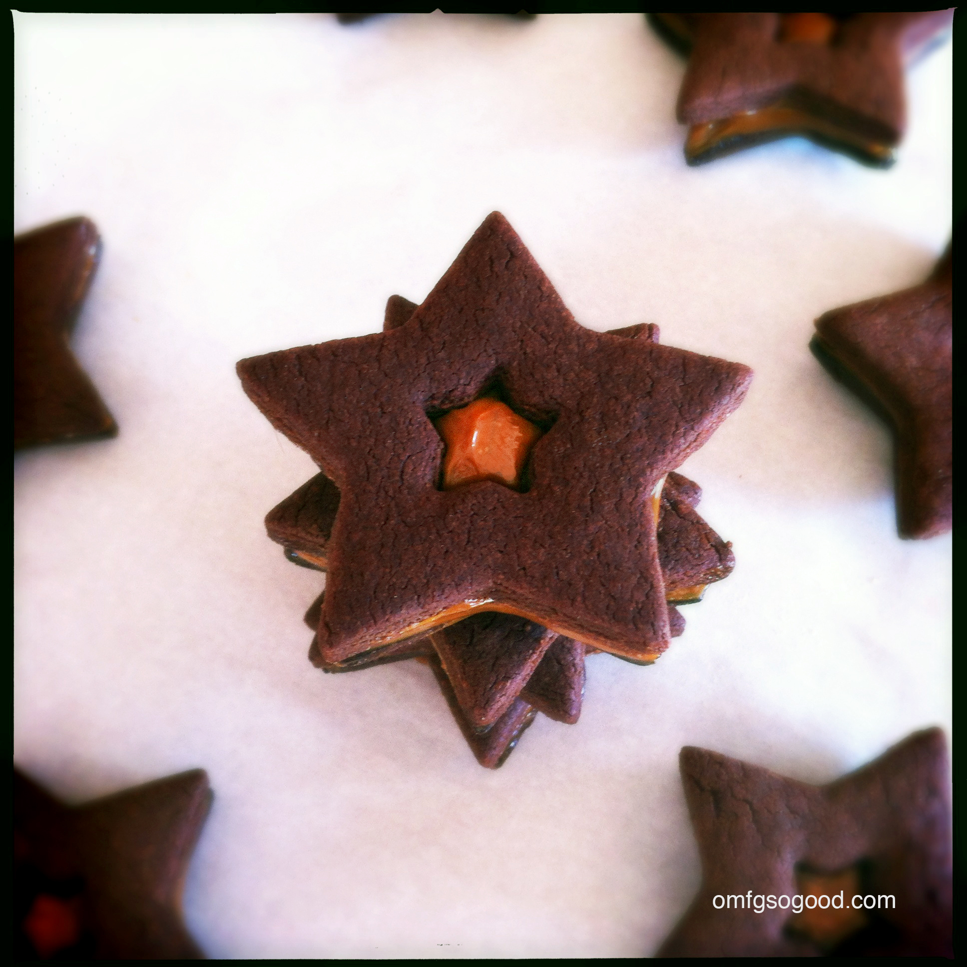 mexican chocolate & dulce de leche star cookies