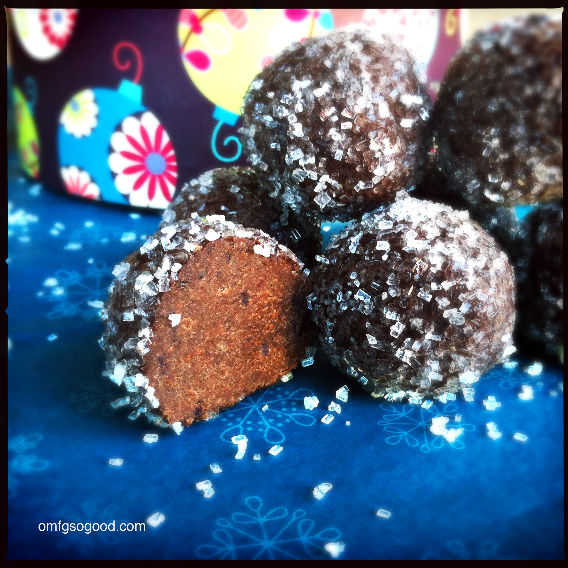 roasted blueberry rum balls