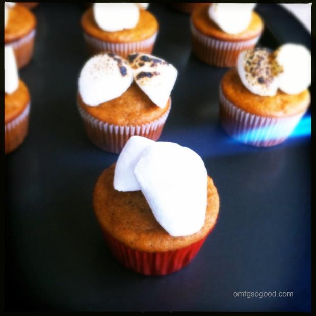 Sweet Potato Cupcakes Roasting Marshmallows