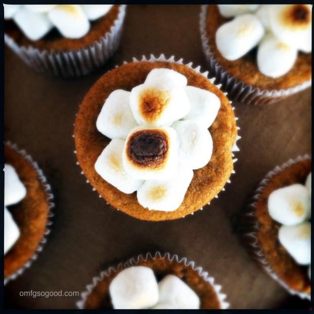 Sweet Potato Cupcakes with Roasted Marshmallows