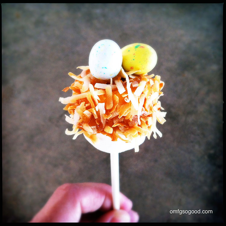 toasted coconut caramel marshmallow pops