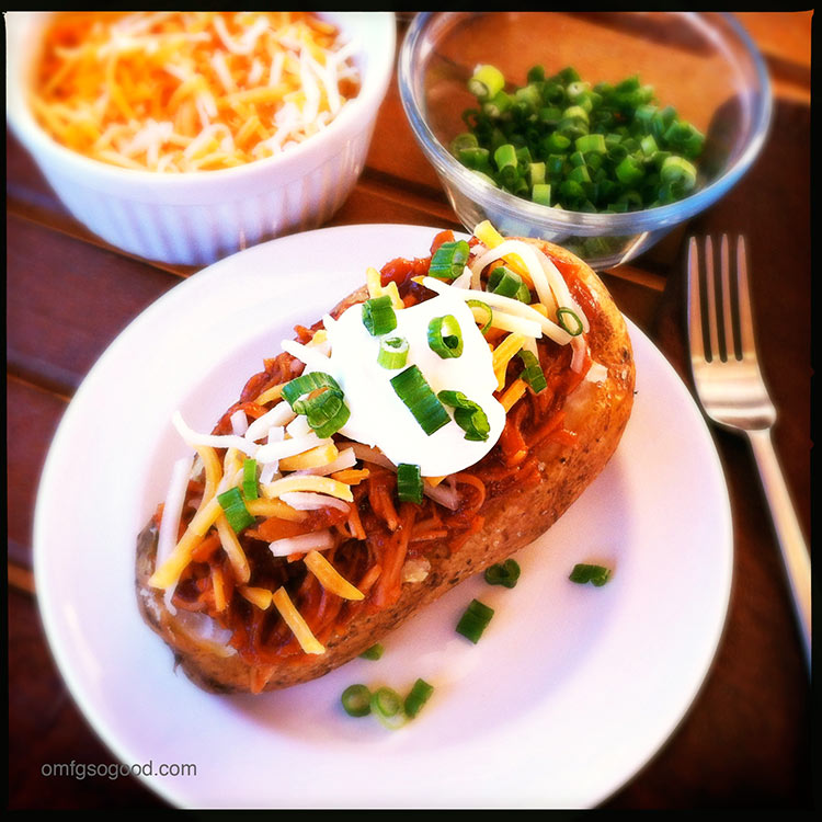BBQ turkey baked potatoes