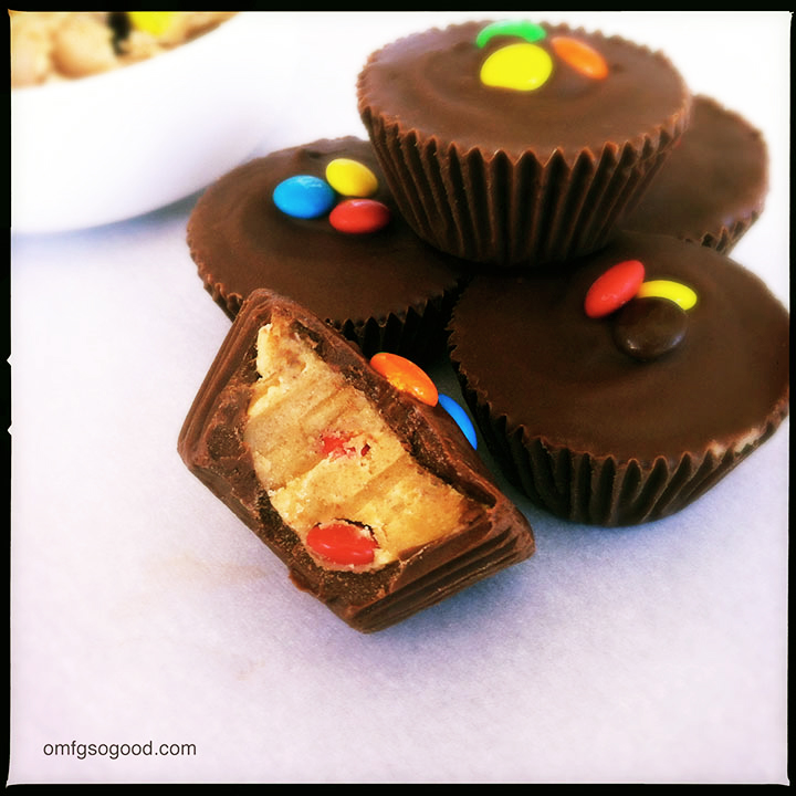 m&m cookie dough peanut butter cups