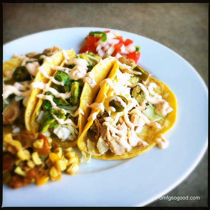 chicken tacos with chipotle crema   omfg. so good.