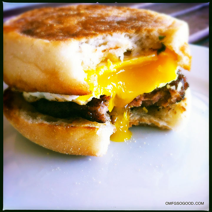 sausage and egg sandwich with maple sagemayo