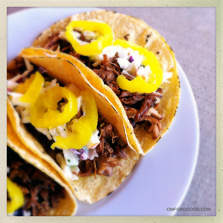 slow cooker BBQ pork tacos with apple slaw
