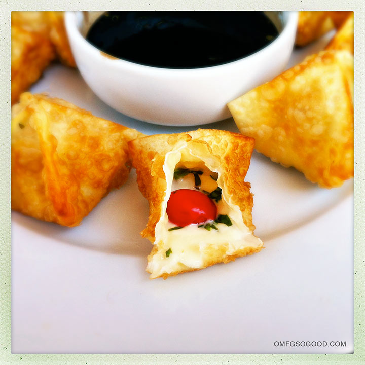 caprese wontons with balsamic reduction