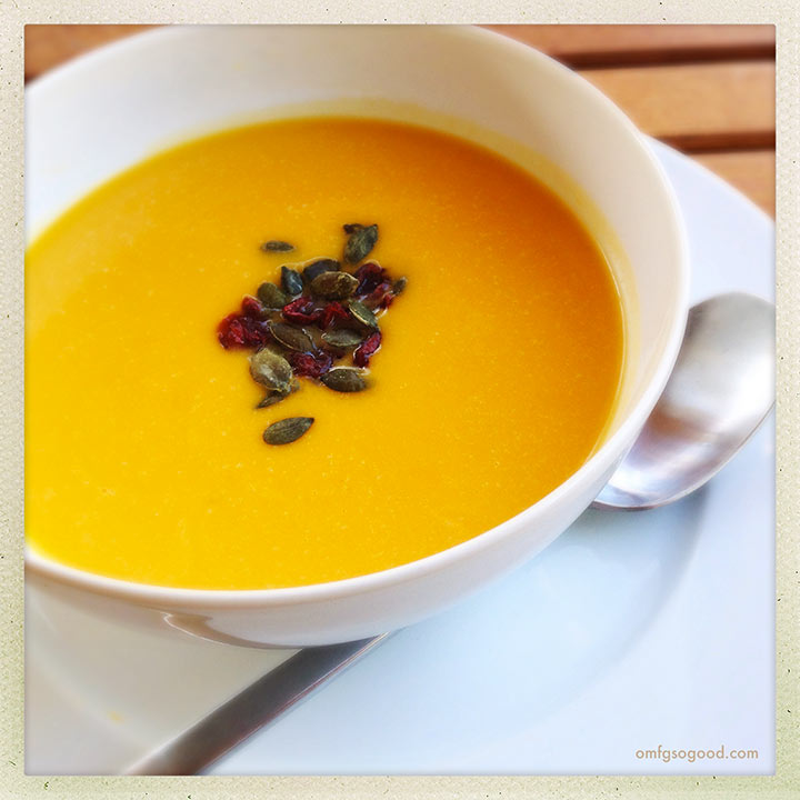 roasted butternut squash, ginger and apple soup