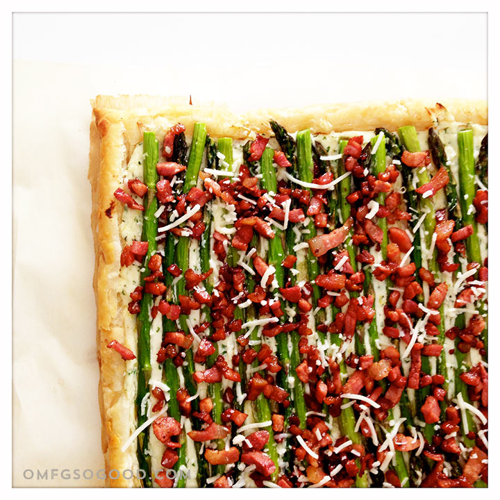 roasted asparagus and pancetta pastry tart