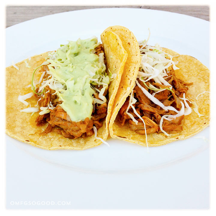 beer braised pork tacos with avocado crema