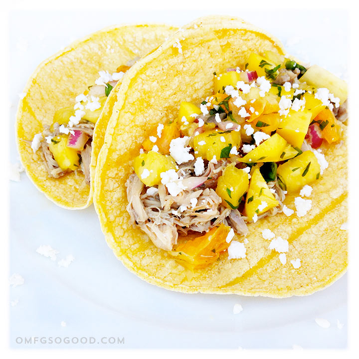 margarita braised chicken tacos with pineapple mango salsa