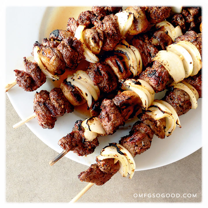 coffee and garlic rubbed sirloin skewers