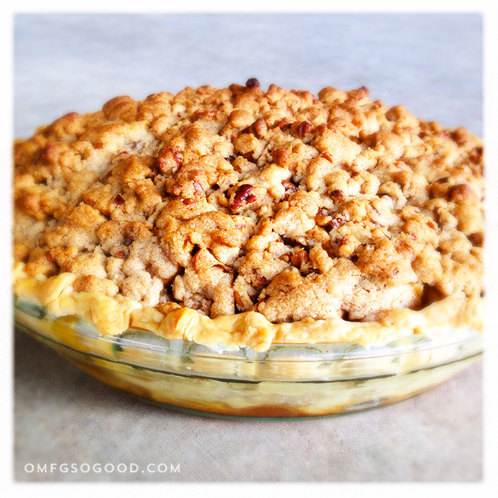 salted pecan crumble topped apple & bourbon cherry pie